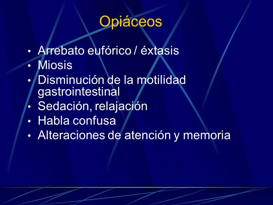 Opiáceos Arrebato eufórico / éxtasis Miosis