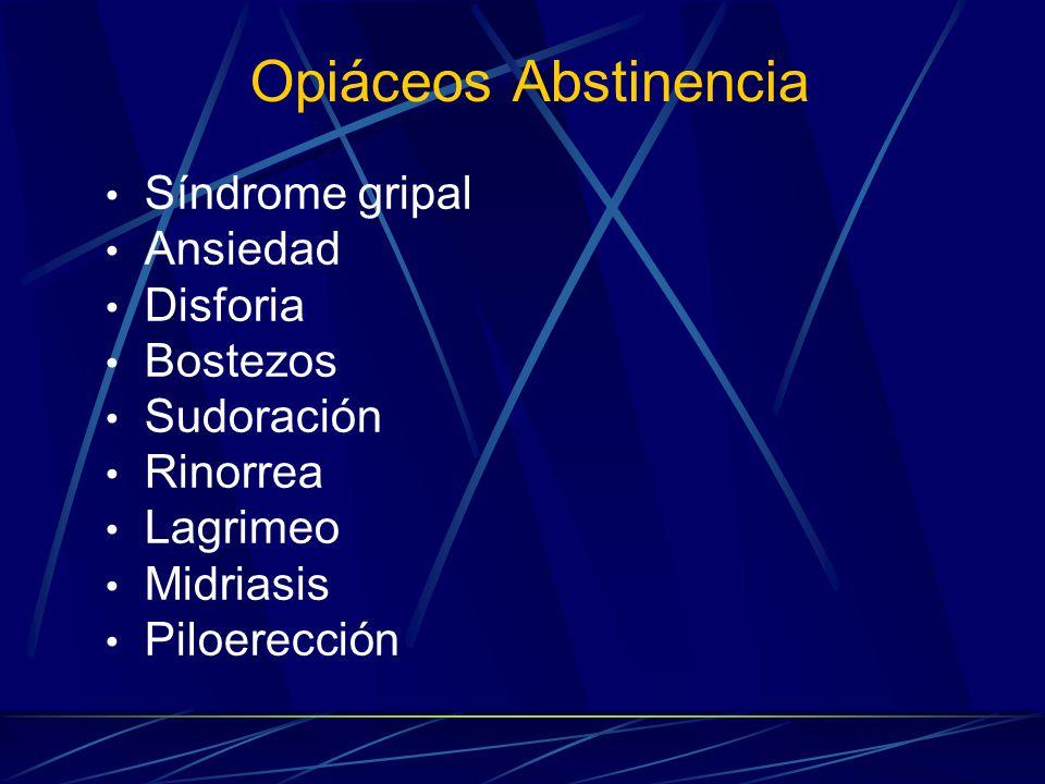 Opiáceos Abstinencia Síndrome gripal Ansiedad Disforia Bostezos