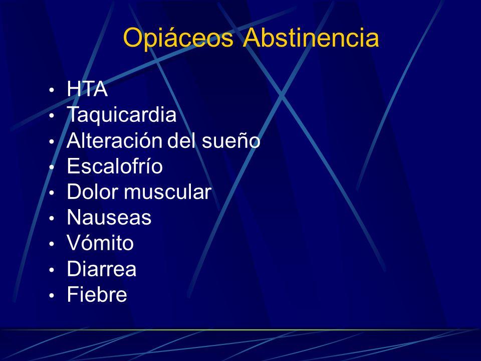 Opiáceos Abstinencia HTA Taquicardia Alteración del sueño Escalofrío