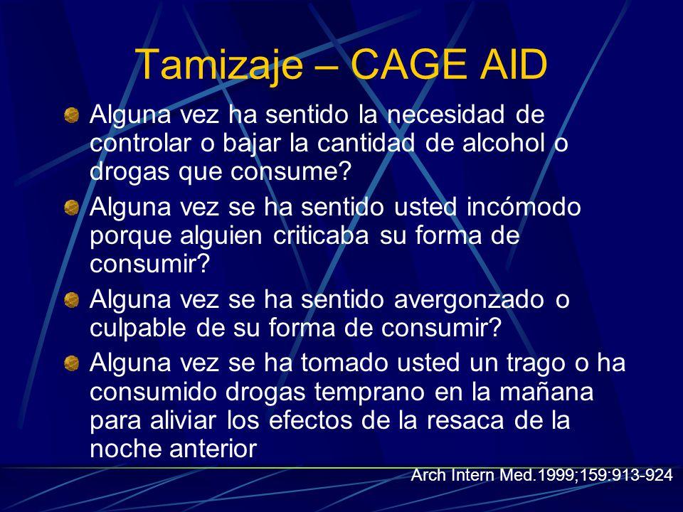 Tamizaje – CAGE AID Alguna vez ha sentido la necesidad de controlar o bajar la cantidad de alcohol o drogas que consume