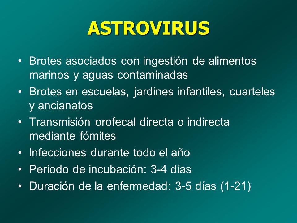 ASTROVIRUS Brotes asociados con ingestión de alimentos marinos y aguas contaminadas. Brotes en escuelas, jardines infantiles, cuarteles y ancianatos.