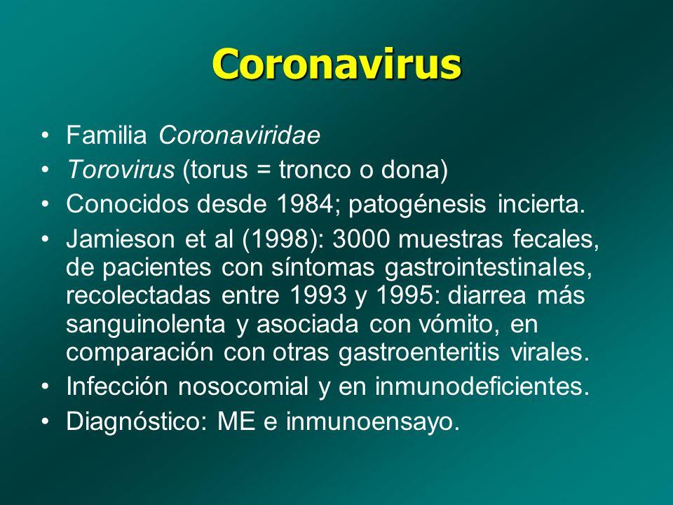 Coronavirus Familia Coronaviridae Torovirus (torus = tronco o dona)