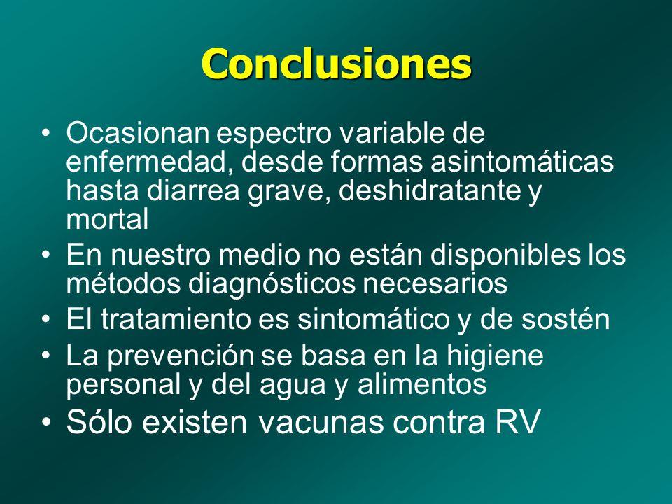 Conclusiones Sólo existen vacunas contra RV