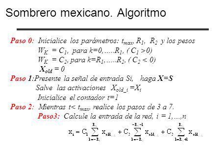 Sombrero mexicano. Algoritmo