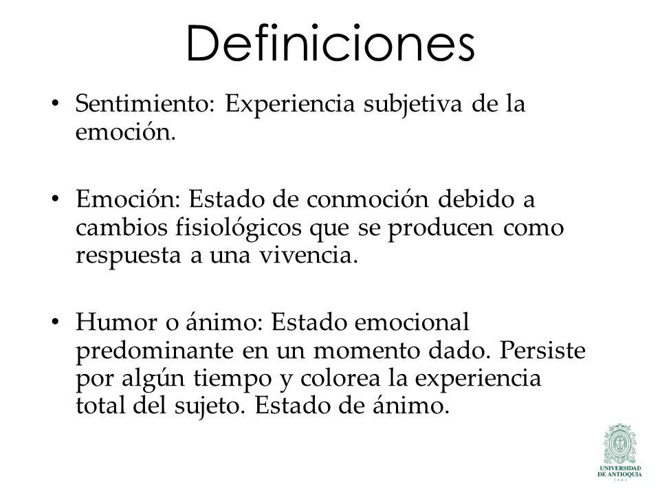 Definiciones Sentimiento: Experiencia subjetiva de la emoción.