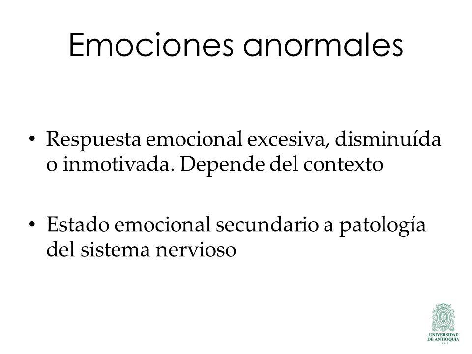 Emociones anormales Respuesta emocional excesiva, disminuída o inmotivada. Depende del contexto.