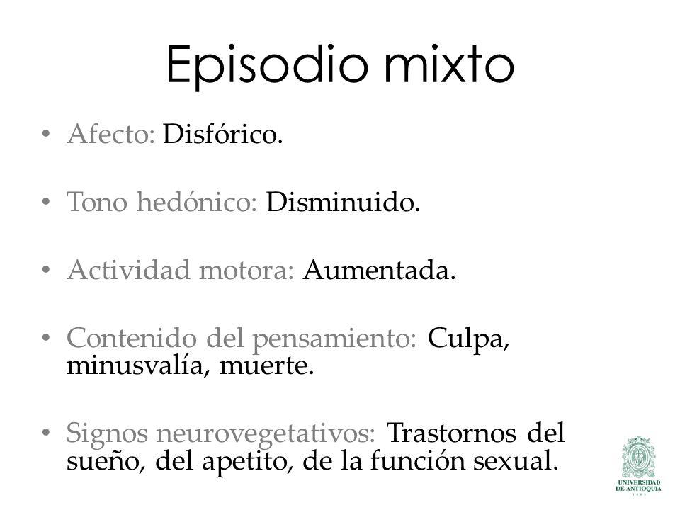Episodio mixto Afecto: Disfórico. Tono hedónico: Disminuido.