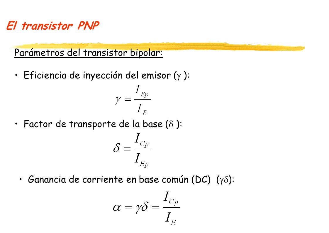El transistor PNP Parámetros del transistor bipolar: