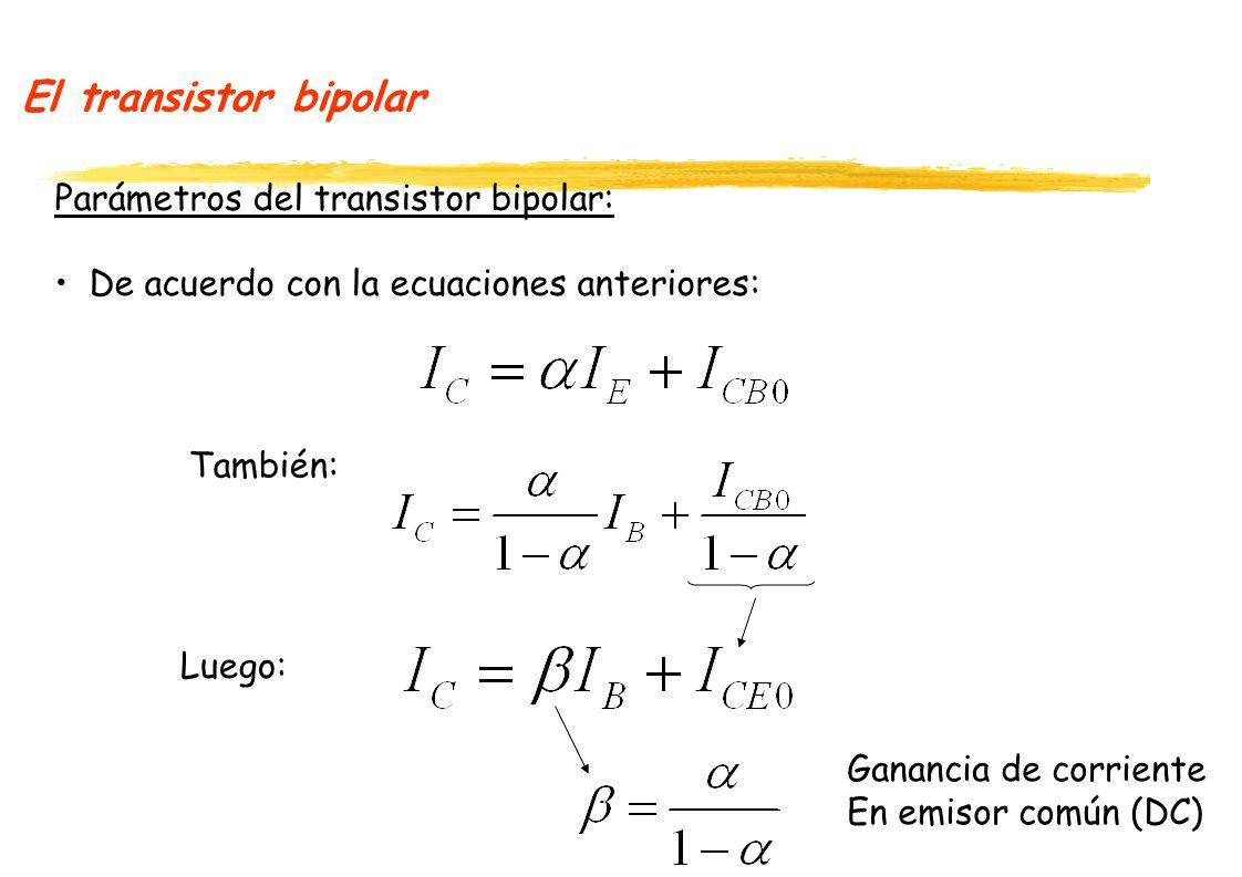 El transistor bipolar Parámetros del transistor bipolar: