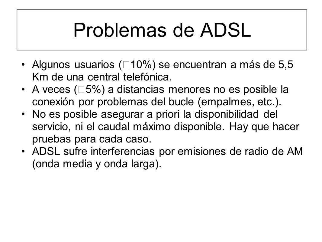 Problemas de ADSL Algunos usuarios (10%) se encuentran a más de 5,5 Km de una central telefónica.