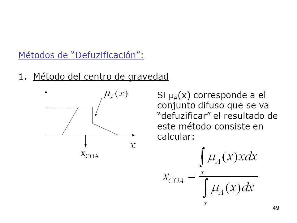 xCOA Métodos de Defuzificación : 1. Método del centro de gravedad