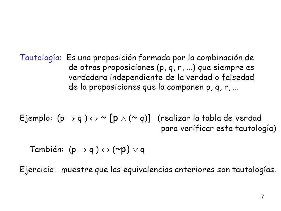 Tautología: Es una proposición formada por la combinación de