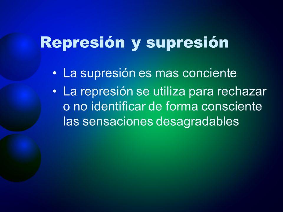 Represión y supresión La supresión es mas conciente