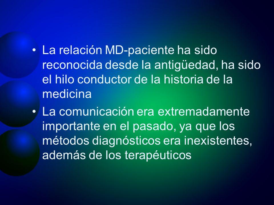 La relación MD-paciente ha sido reconocida desde la antigüedad, ha sido el hilo conductor de la historia de la medicina