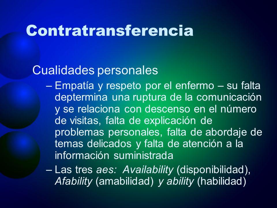Contratransferencia Cualidades personales