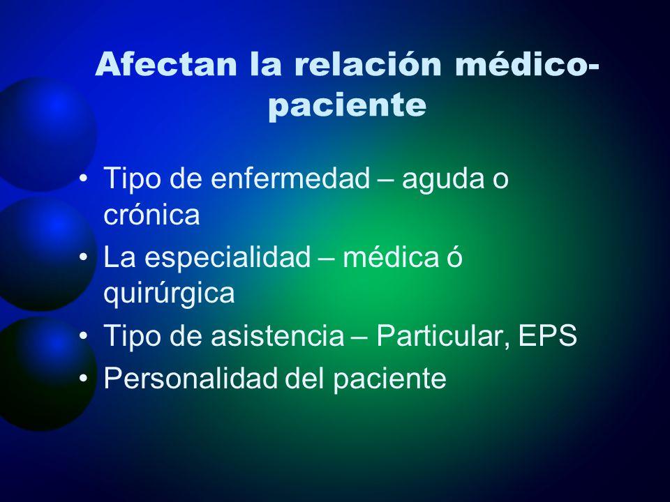Afectan la relación médico-paciente