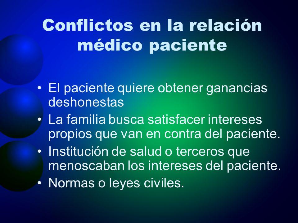Conflictos en la relación médico paciente