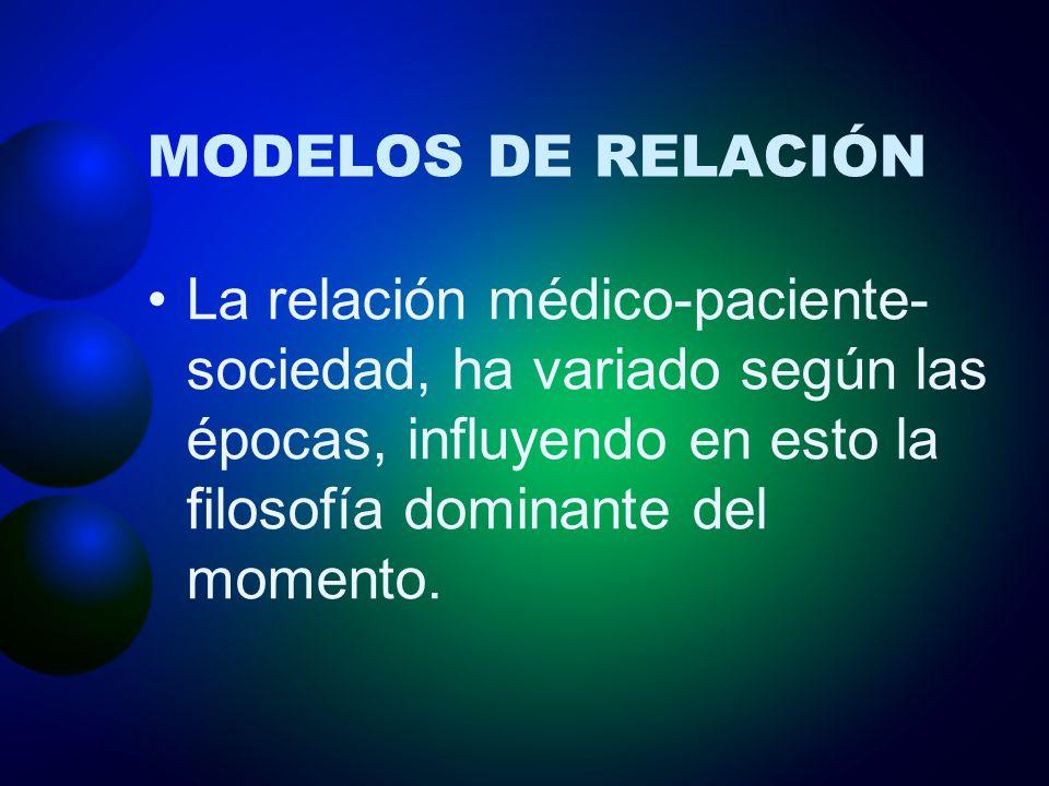 MODELOS DE RELACIÓN La relación médico-paciente-sociedad, ha variado según las épocas, influyendo en esto la filosofía dominante del momento.