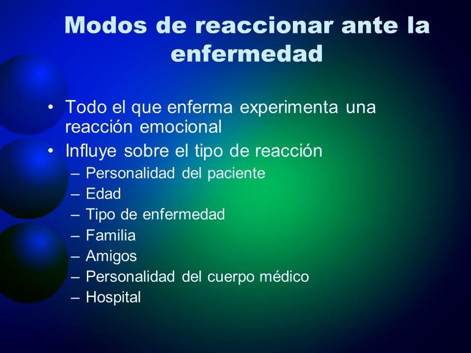 Modos de reaccionar ante la enfermedad
