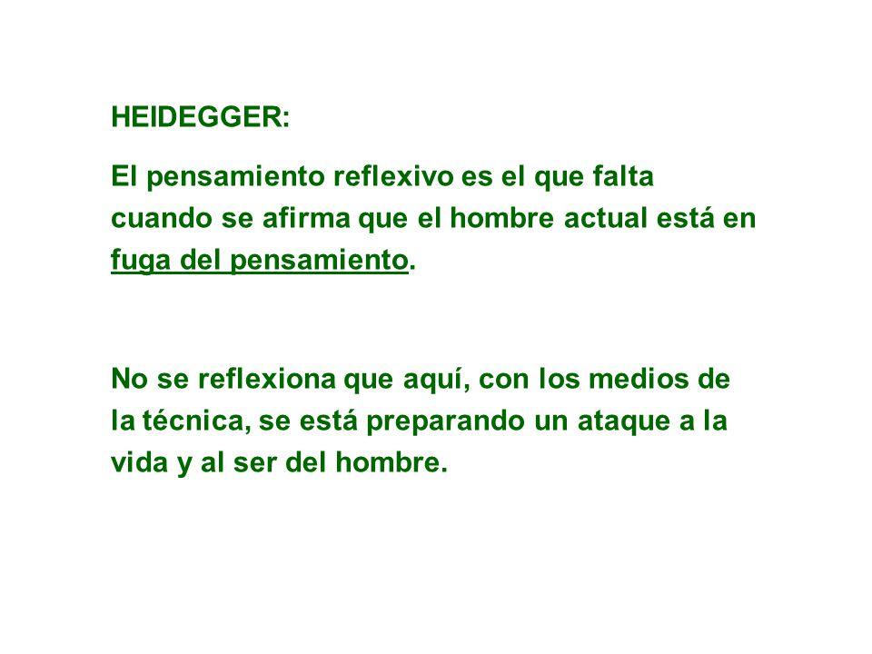 HEIDEGGER: El pensamiento reflexivo es el que falta cuando se afirma que el hombre actual está en fuga del pensamiento.