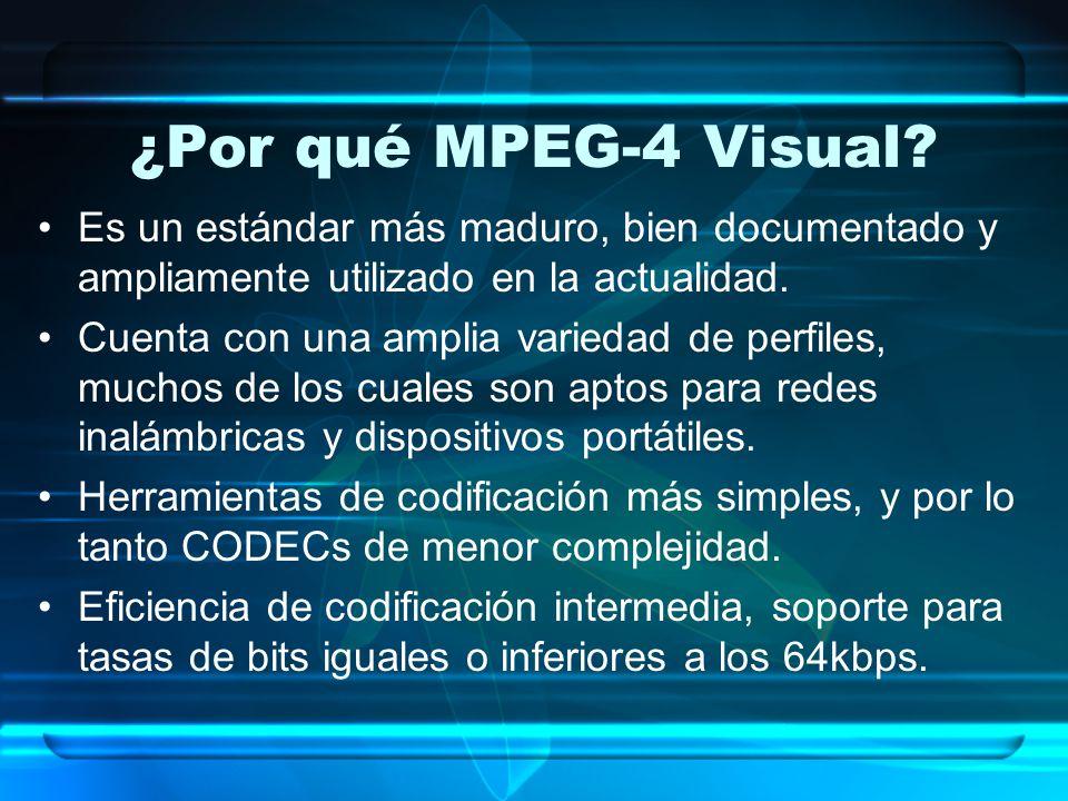 ¿Por qué MPEG-4 Visual Es un estándar más maduro, bien documentado y ampliamente utilizado en la actualidad.