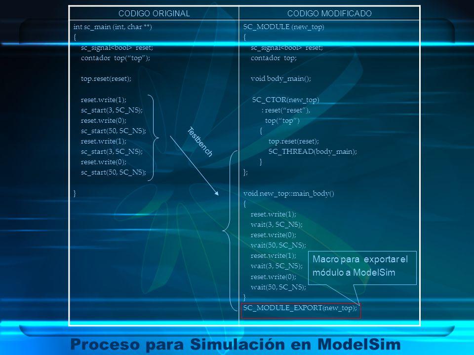 Proceso para Simulación en ModelSim