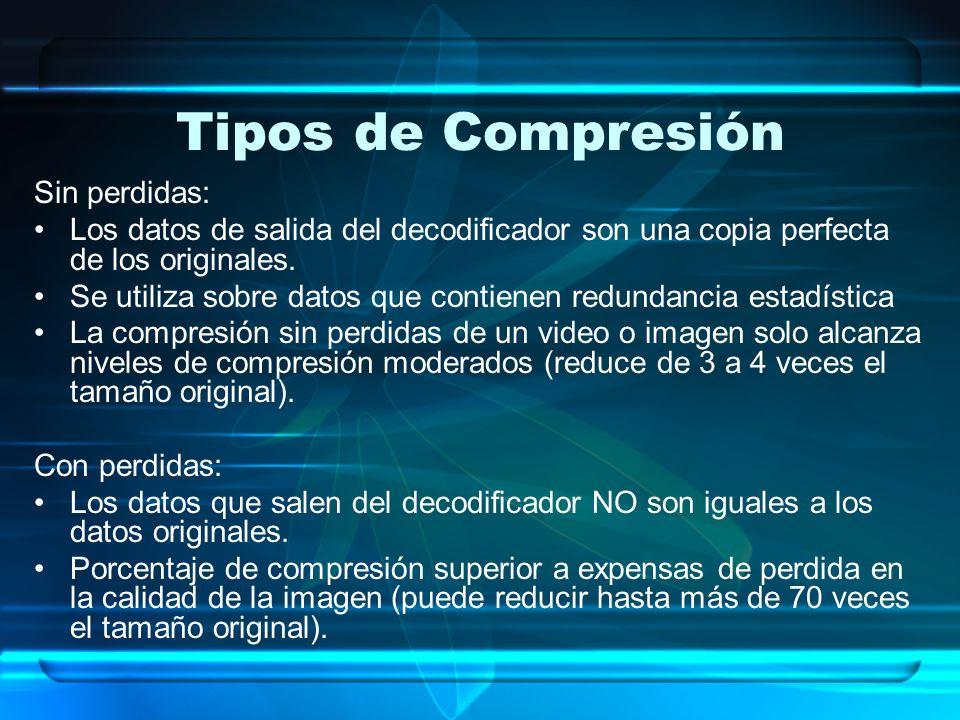 Tipos de Compresión Sin perdidas: