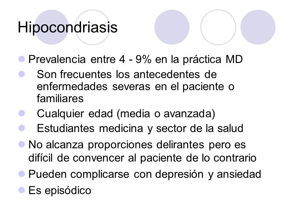 Hipocondriasis Prevalencia entre 4 - 9% en la práctica MD