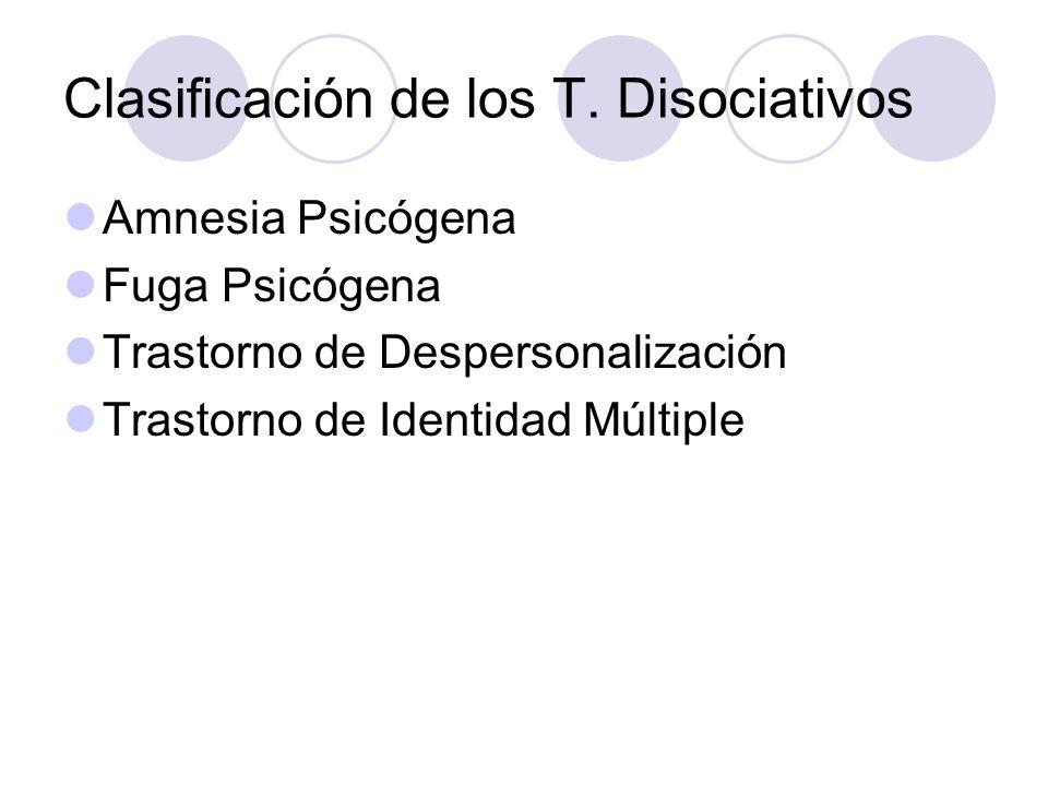 Clasificación de los T. Disociativos