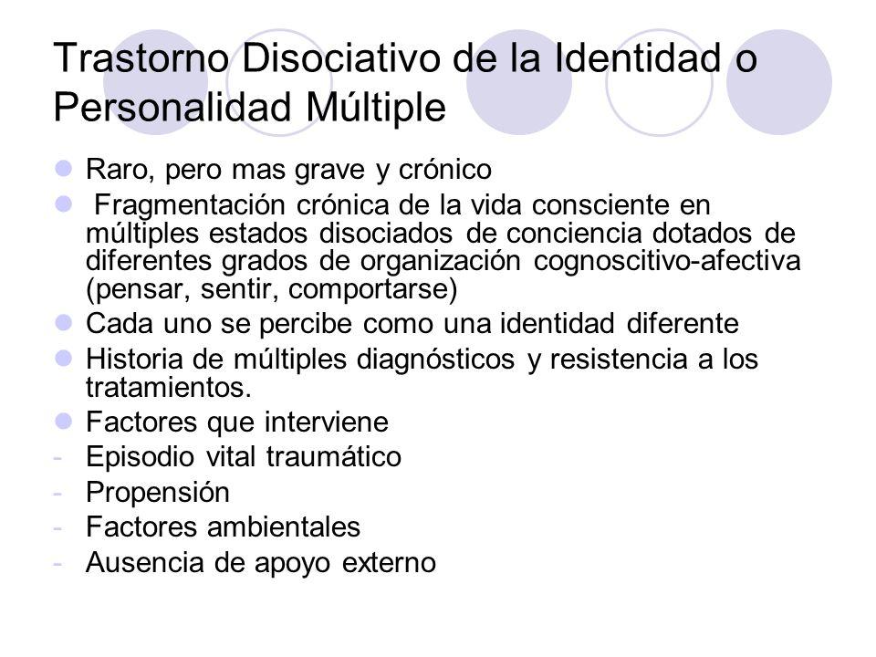 Trastorno Disociativo de la Identidad o Personalidad Múltiple
