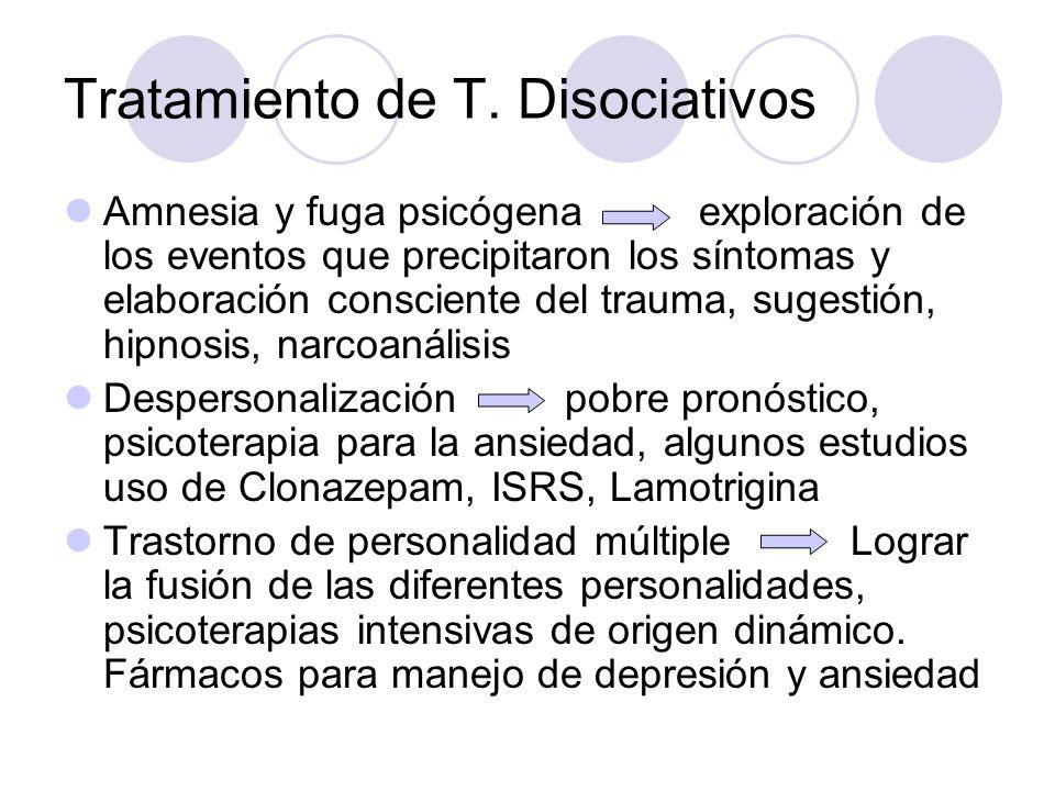 Tratamiento de T. Disociativos