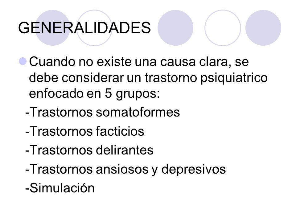GENERALIDADES Cuando no existe una causa clara, se debe considerar un trastorno psiquiatrico enfocado en 5 grupos: