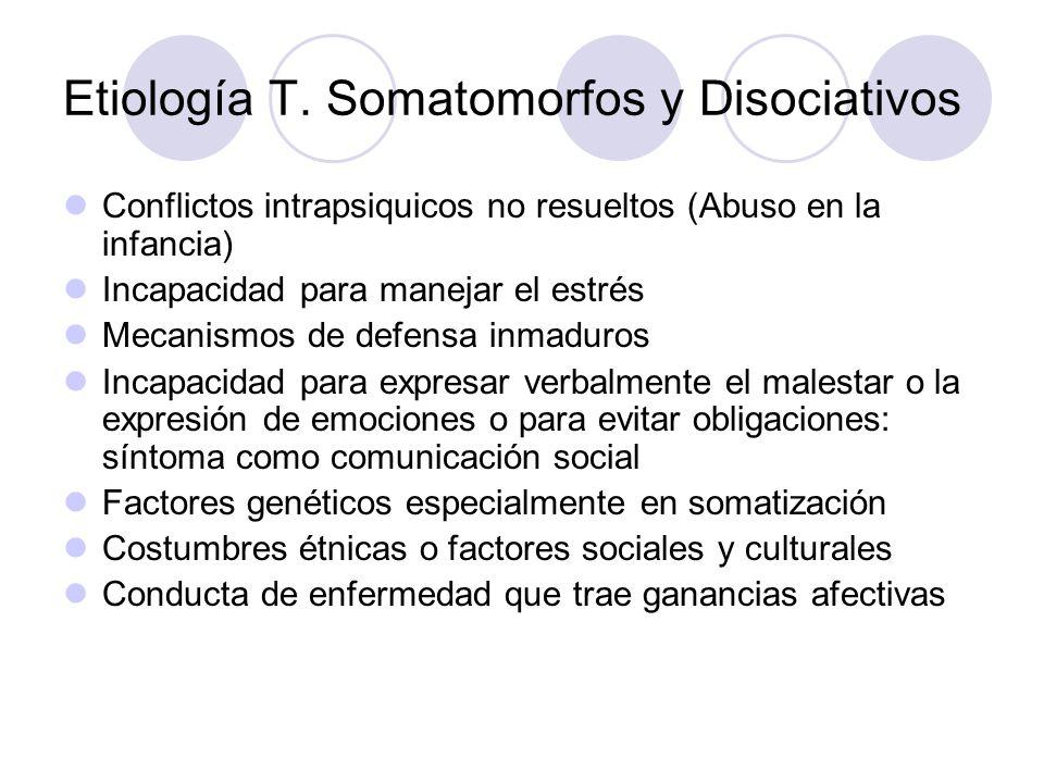Etiología T. Somatomorfos y Disociativos