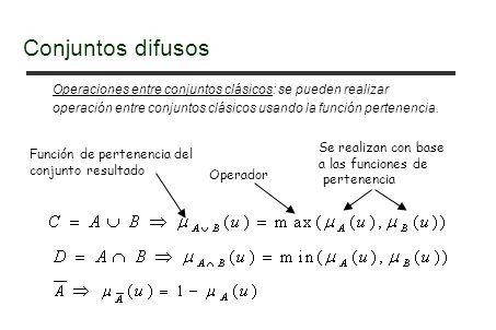 Conjuntos difusos Operaciones entre conjuntos clásicos: se pueden realizar. operación entre conjuntos clásicos usando la función pertenencia.