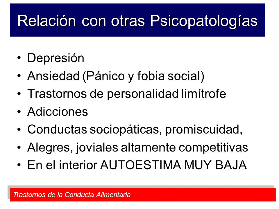 Relación con otras Psicopatologías
