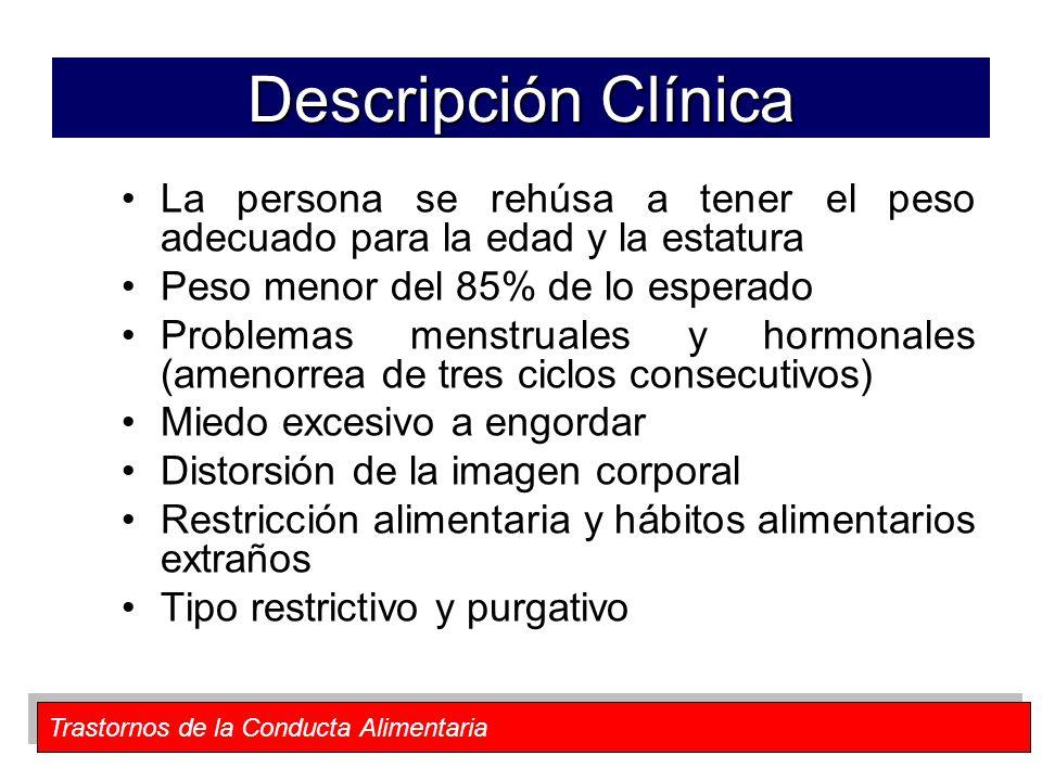 Descripción Clínica La persona se rehúsa a tener el peso adecuado para la edad y la estatura. Peso menor del 85% de lo esperado.