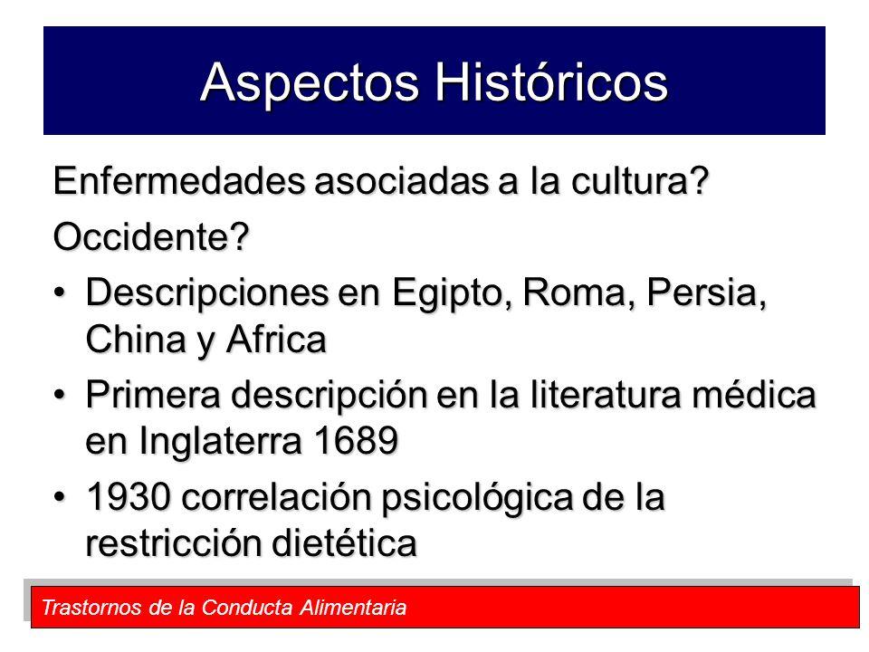 Aspectos Históricos Enfermedades asociadas a la cultura Occidente