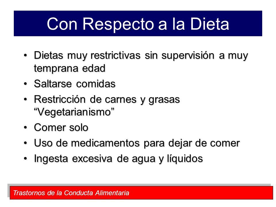 Con Respecto a la Dieta Dietas muy restrictivas sin supervisión a muy temprana edad. Saltarse comidas.