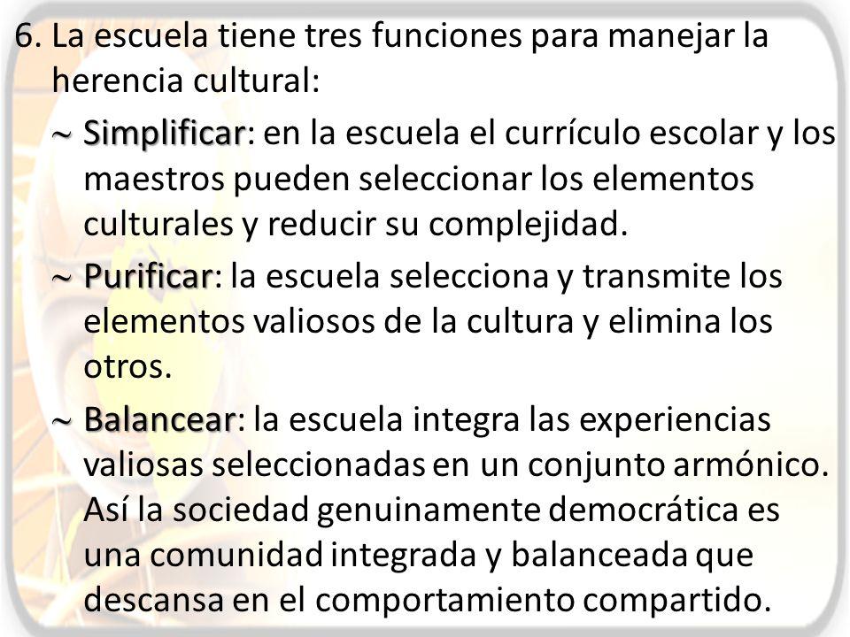 La escuela tiene tres funciones para manejar la herencia cultural: