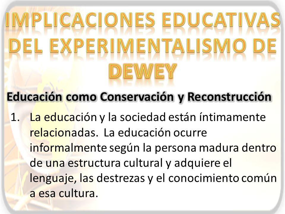 Implicaciones educativas del experimentalismo de dewey