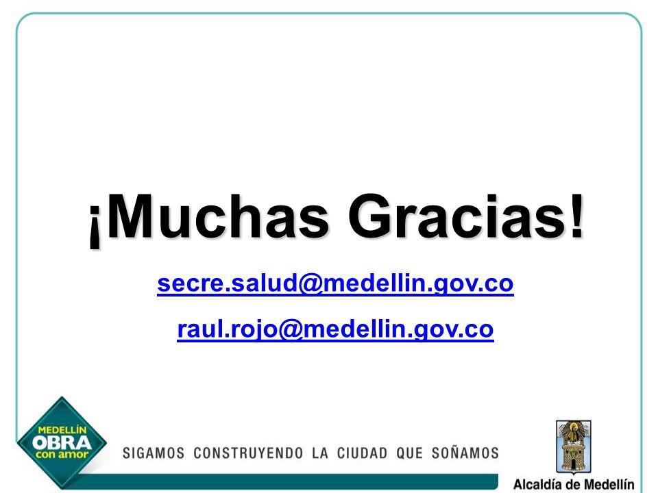 ¡Muchas Gracias! secre.salud@medellin.gov.co raul.rojo@medellin.gov.co