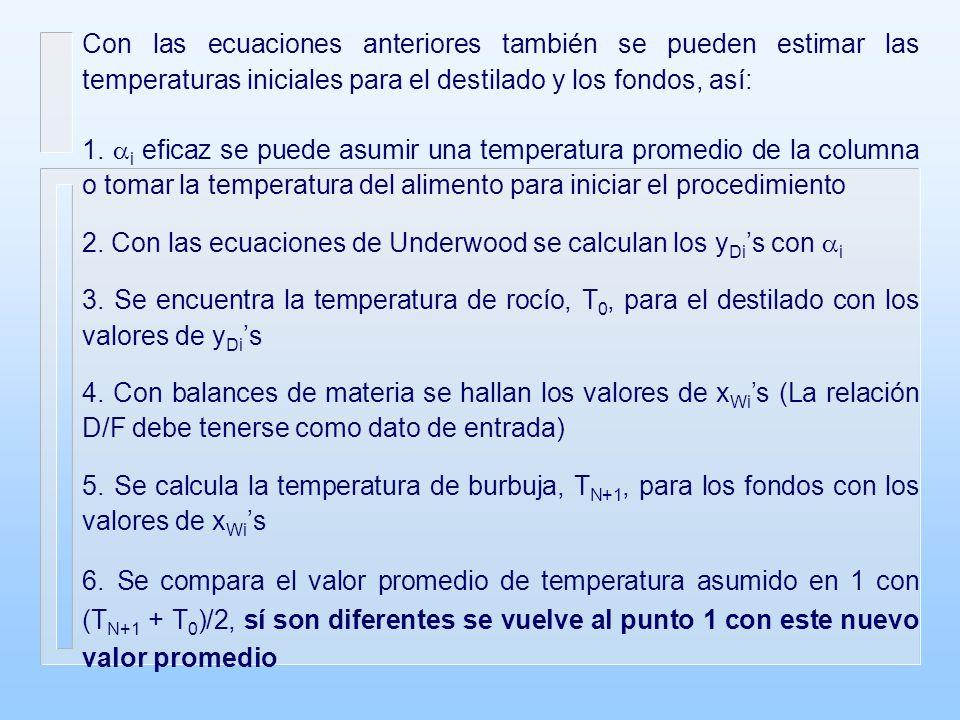 Con las ecuaciones anteriores también se pueden estimar las temperaturas iniciales para el destilado y los fondos, así: