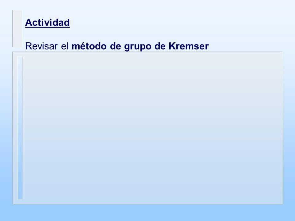 Actividad Revisar el método de grupo de Kremser