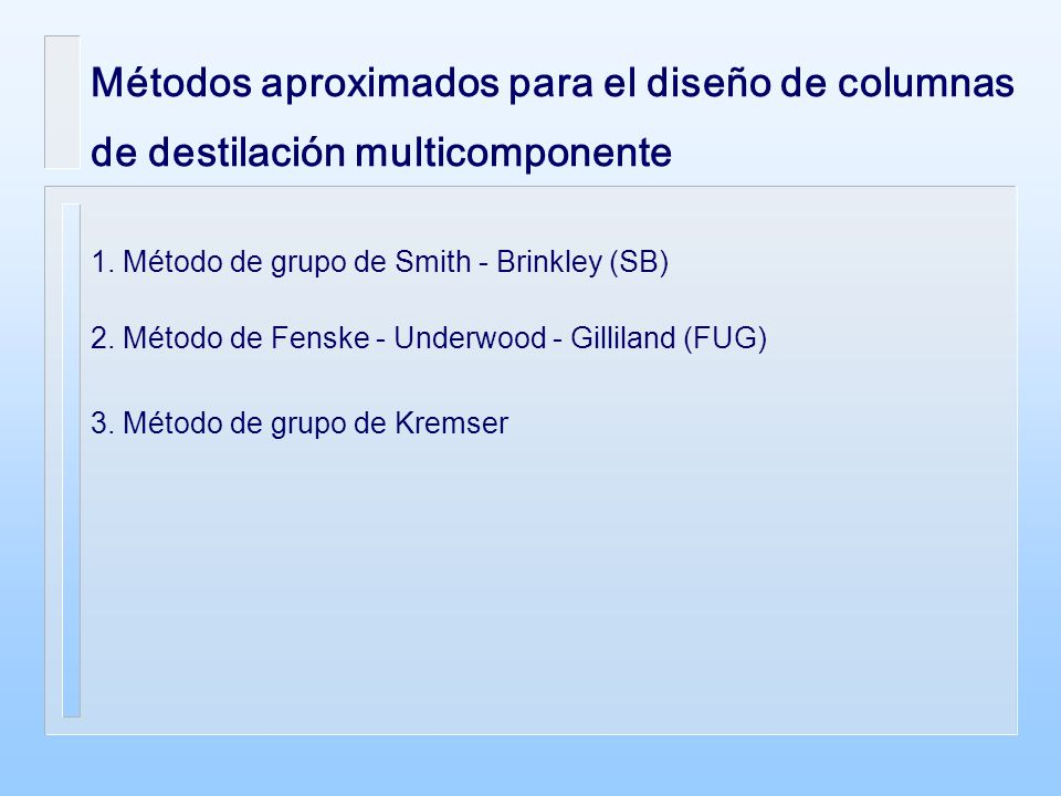 Métodos aproximados para el diseño de columnas de destilación multicomponente