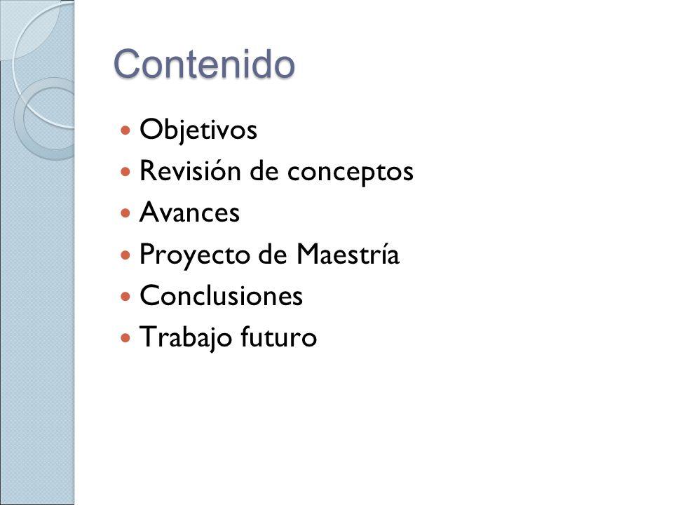 Contenido Objetivos Revisión de conceptos Avances Proyecto de Maestría