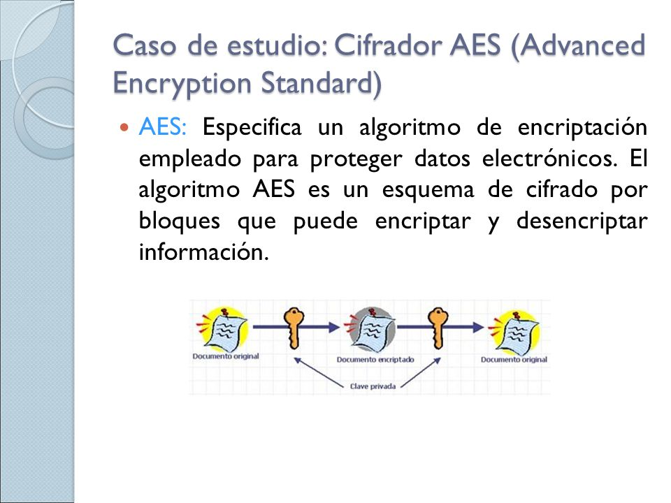 Caso de estudio: Cifrador AES (Advanced Encryption Standard)