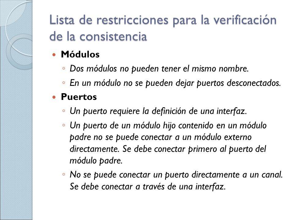 Lista de restricciones para la verificación de la consistencia