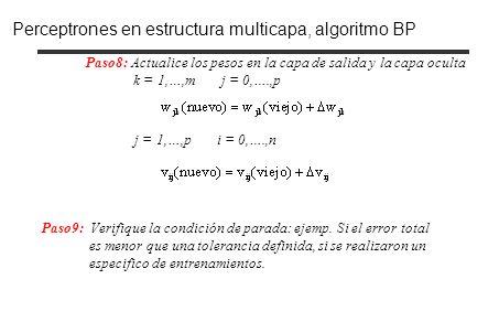 Perceptrones en estructura multicapa, algoritmo BP