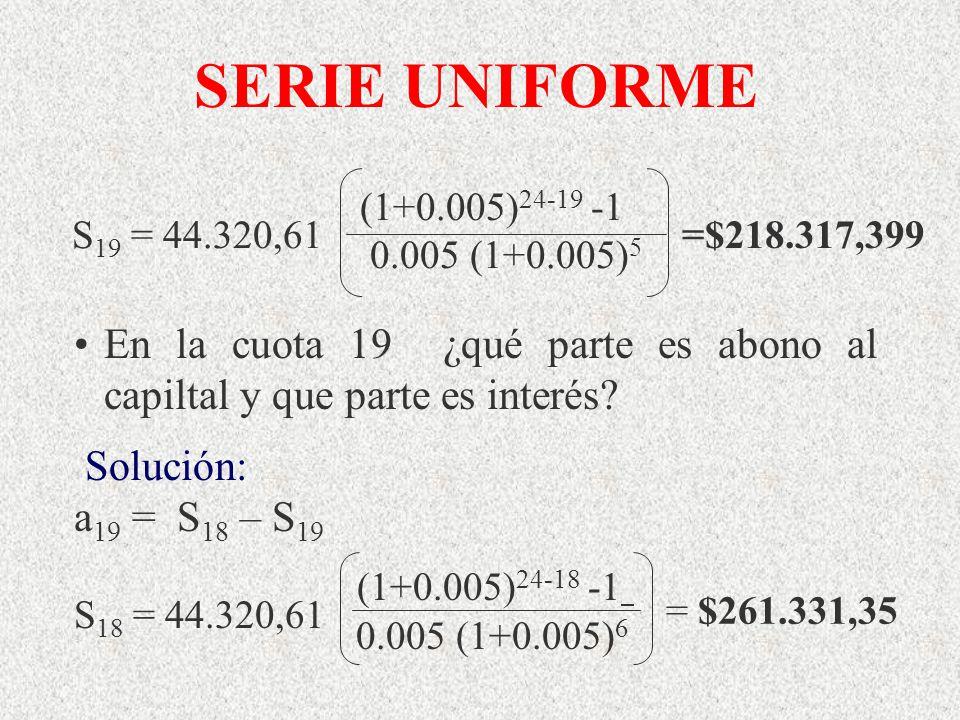 SERIE UNIFORME S19 = 44.320,61. (1+0.005)24-19 -1. 0.005 (1+0.005)5. =$218.317,399.