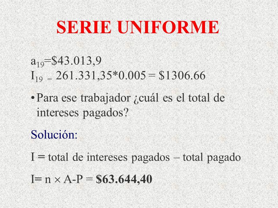 SERIE UNIFORME a19=$43.013,9 I19 = 261.331,35*0.005 = $1306.66